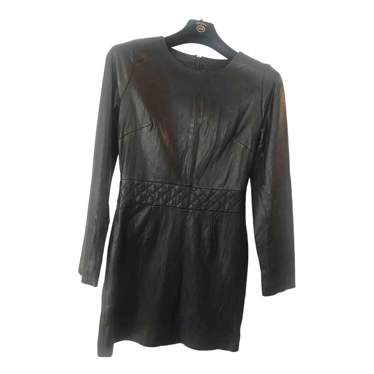 American Retro \N Kleid in  Schwarz Leder