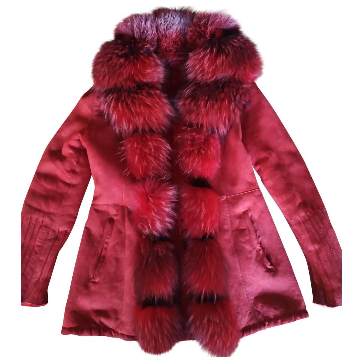 - Manteau   pour femme en racoon - rouge