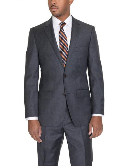 Mens Solid Charcoal Gray 2 Button Notch Lapel Wool Classic Fit Suit