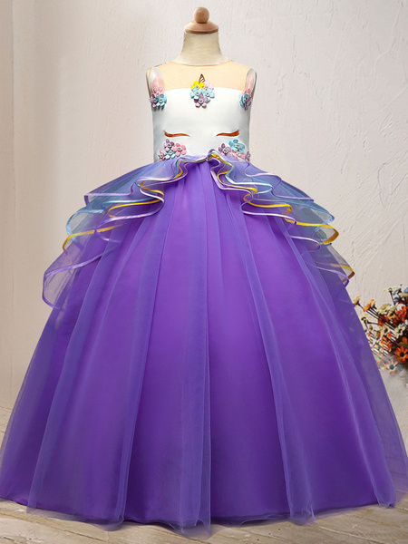Milanoo Flower Girl Dresses Jewel Neck Tulle Sleeveless Ankle Length Princess Silhouette Embroidered Kids Social Party Dresses