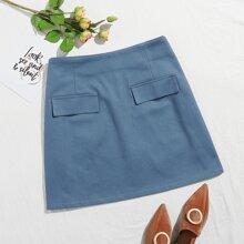 Plus Fake Flap Pocket Denim Skirt