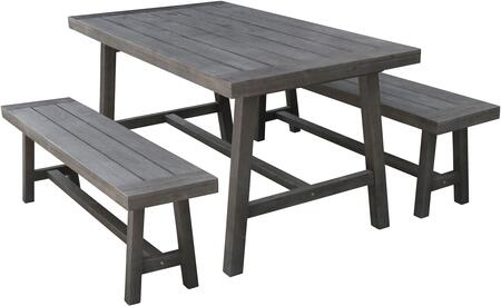 Renaissance Collection V1819SET1 3 PC Outdoor Patio Picnic Dining Set with 59