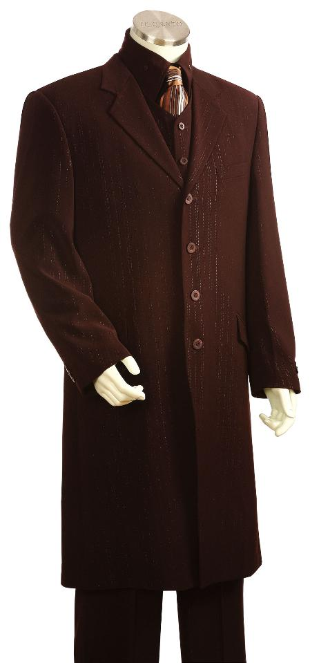 4 Button Brown Long Zoot Suit Mens