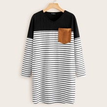 Suede Elbow Patched Striped Tee Dress