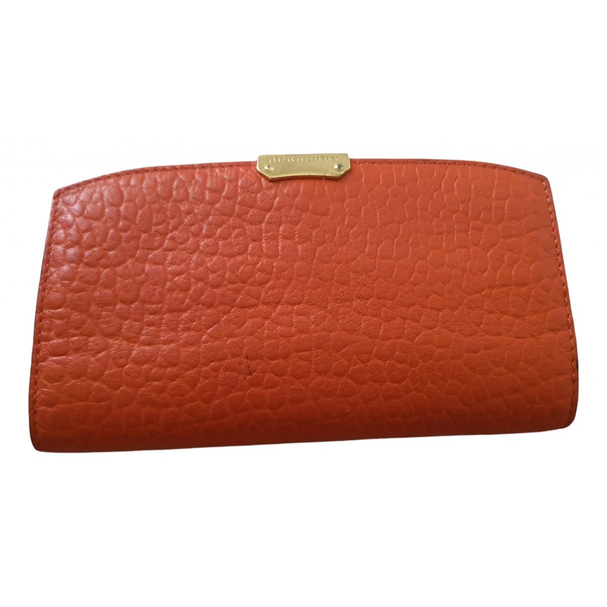 Burberry - Portefeuille   pour femme en cuir - orange