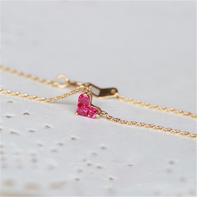Creative Gift Women Heart Shaped Pendant Sterling Silver Necklace