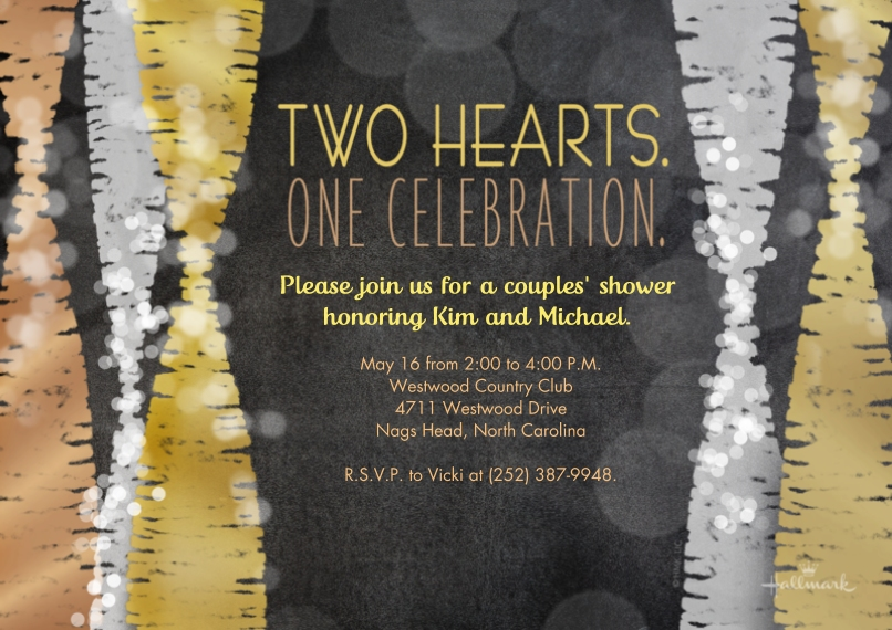 Wedding Shower Invites 5x7 Cards, Premium Cardstock 120lb with Elegant Corners, Card & Stationery -Two Hearts One Celebration