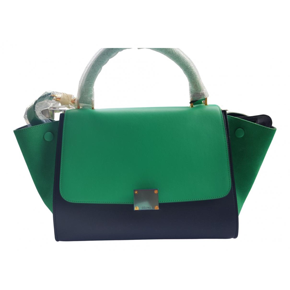 Celine Trapeze Handtasche in  Gruen Leder