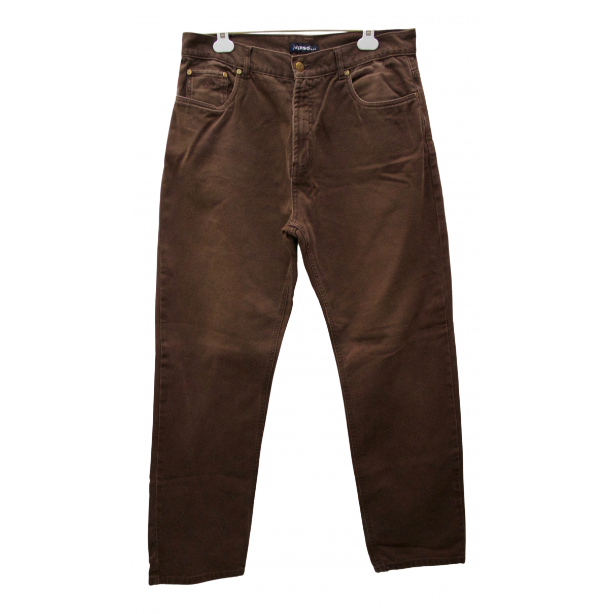 Non Signé / Unsigned Oversize Brown Cotton Trousers for Men 52 IT