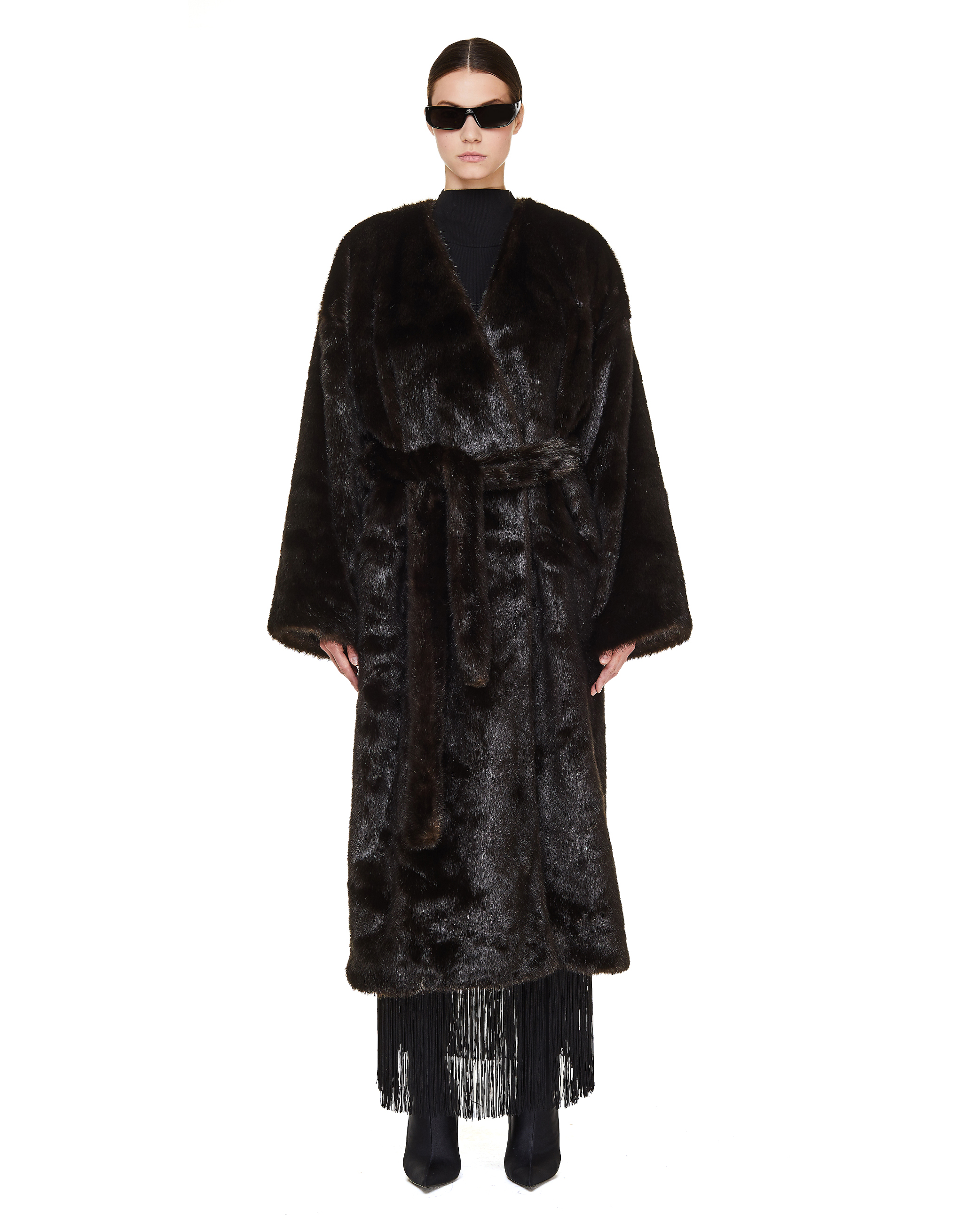 Balenciaga Brown Faux Fur Coat