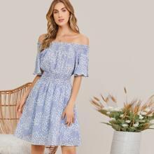 Off Shoulder Shirred Ditsy Floral Dress