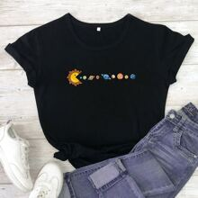 Camiseta de manga corta con estampado de dibujos animados