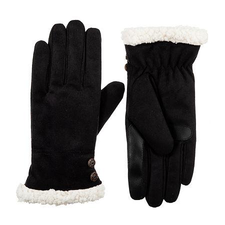 Isotoner Microfiber Cold Weather Gloves, Large-x-large , Black