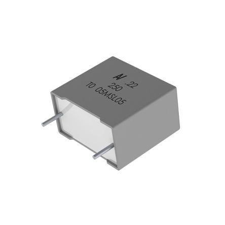 KEMET 0.22μF Polyester Capacitor PET 200 V ac, 400 V dc ±10%, Through Hole (1000)