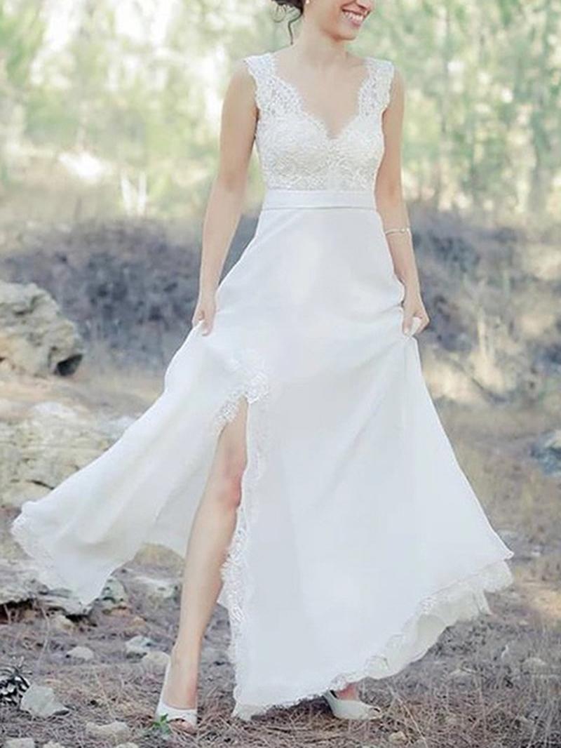 Ericdress V-Neck Split-Front Appliques Beach Wedding Dress