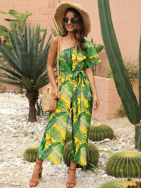Yoins Yellow Belted Tropical One Shoulder Wide Leg Jumpsuit