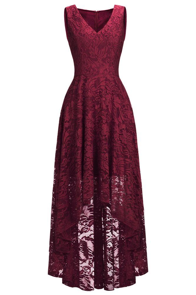 Vestidos de encaje de color borgoña sin mangas con cuello en V de una linea