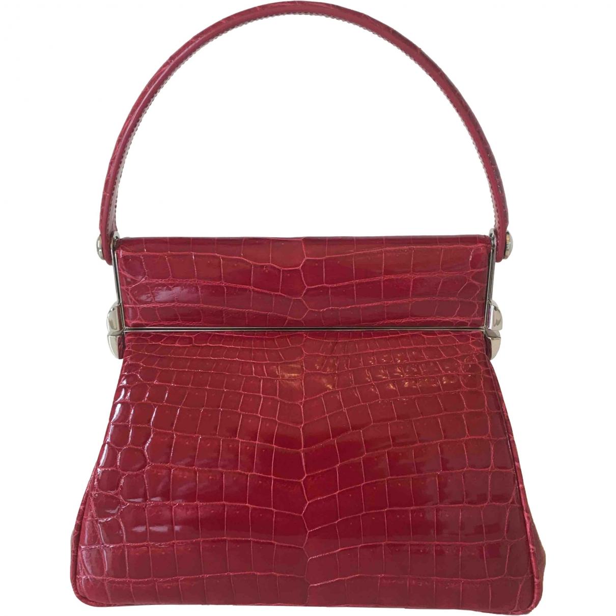 Dior Babe Handtasche in  Rot Krokodil