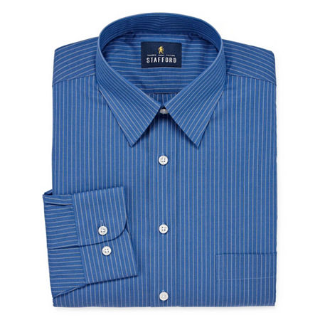 Stafford Mens Wrinkle Free Stain Resistant Stretch Super Shirt Big and Tall Dress Shirt, 17.5 36-37, Blue