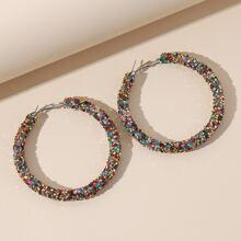 Colorful Rhinestone Decor Hoop Earrings