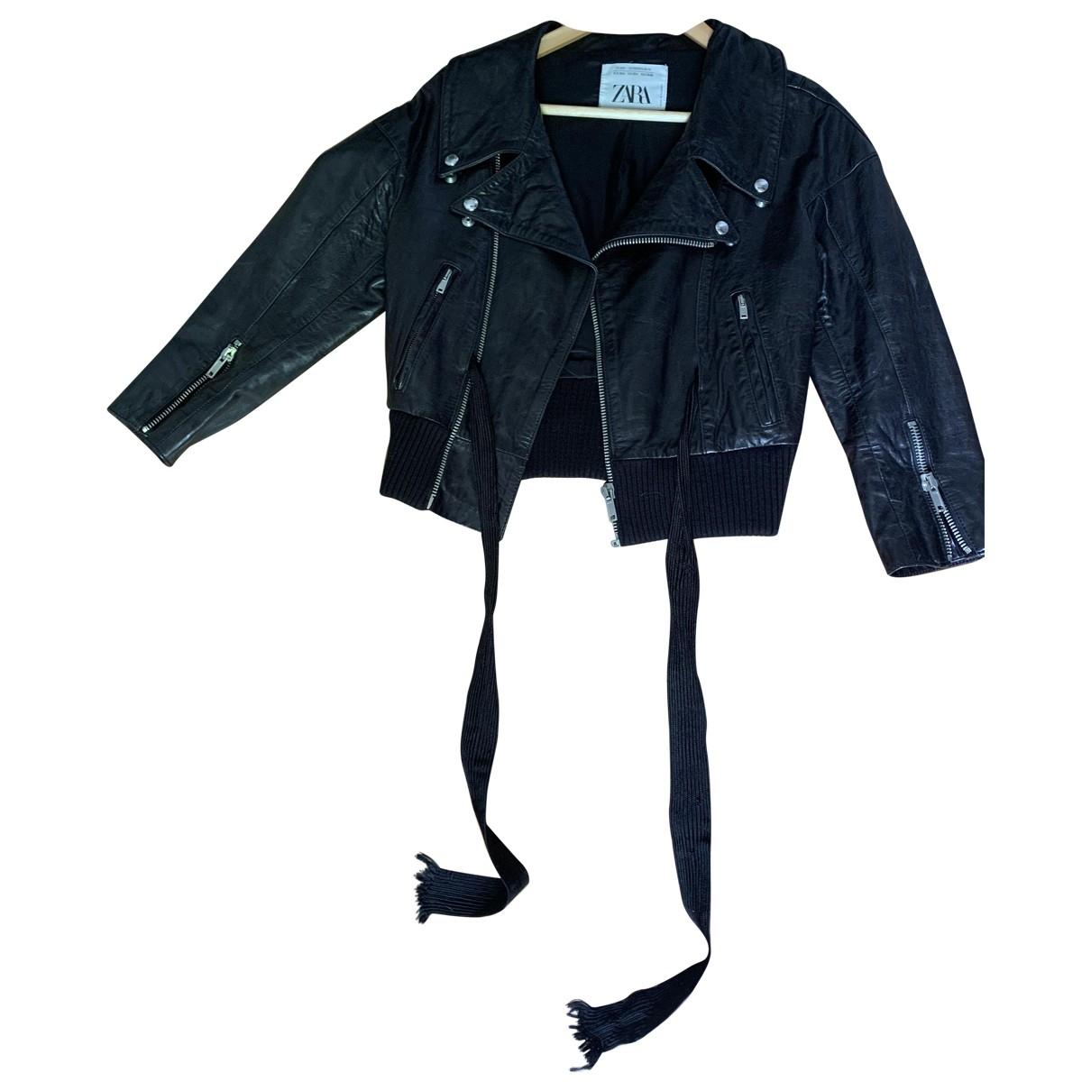 Zara \N Black Leather jacket for Women XS International