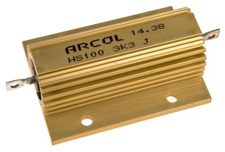 Arcol HS100 Series Aluminium Housed Axial Wire Wound Panel Mount Resistor, 3.3kΩ ±5% 100W