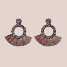 1pair Rhinestone Decor Fringe Drop Earrings
