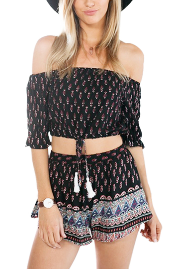 Yoins Spiritual Hippie Cropped Off Shoulder Top With All Over Tribal Print Co-Ord