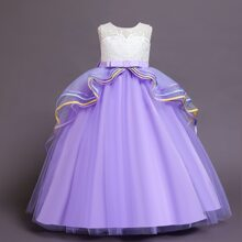 Girls Embroidery Big Bow Layered Mesh Gown Dress
