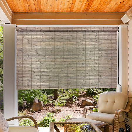Radiance Bamboo Sun Shade With Crank Outdoor Shades, One Size , Gray