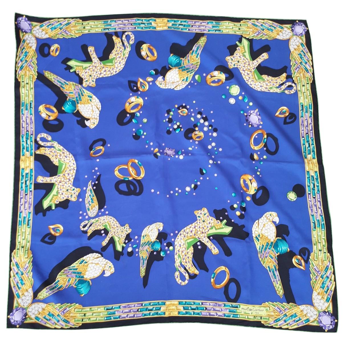 Cartier \N Schal in  Blau Seide