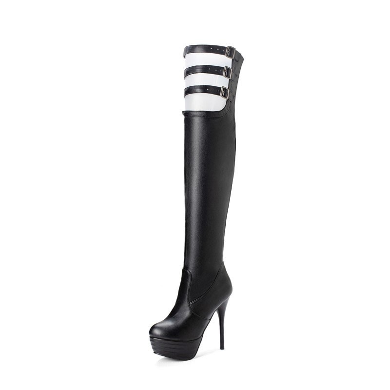 Ericdress Hasp Round Toe Stiletto Heel Sexy Thigh High Boots