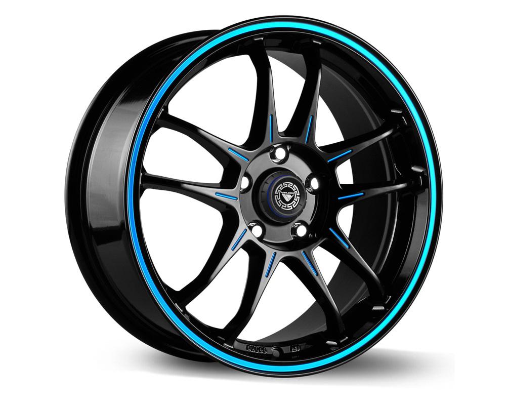 Velox Glide Black/Ball Cut w/Blue Accent Wheel 15x6.5 4x100 40
