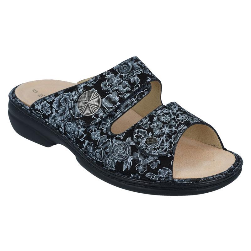 Finn Comfort Sansibar Black Roses Leather Soft Footbed 36
