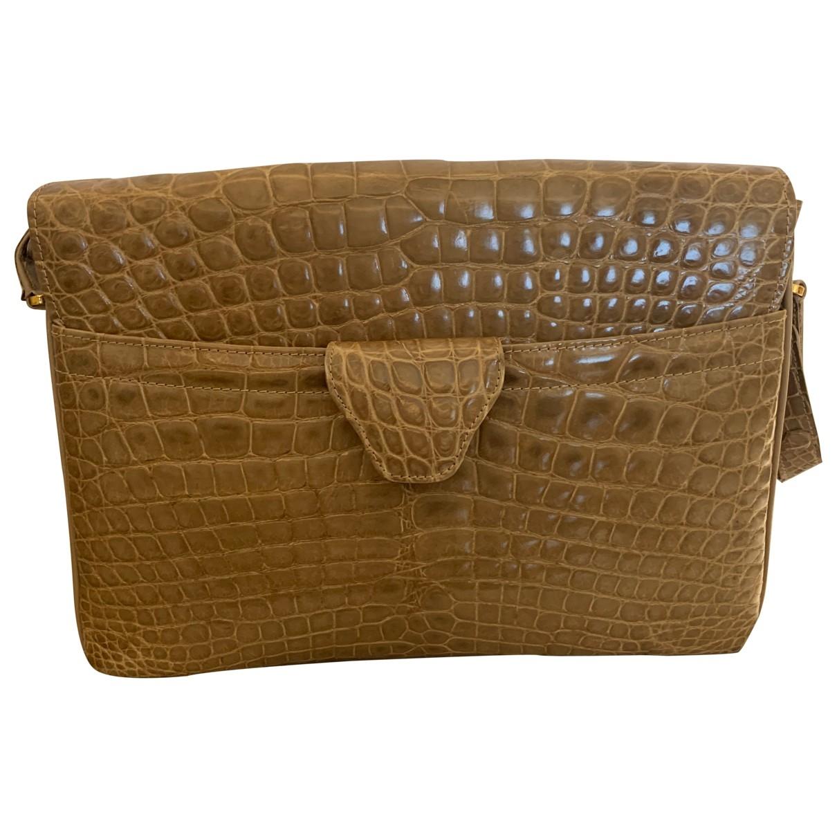 Non Signe / Unsigned \N Handtasche in  Beige Krokodil