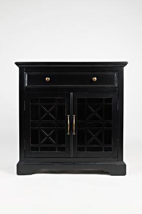 BM184046 Craftman Series 32 Inch Wooden Accent Cabinet with Fretwork Glass Front