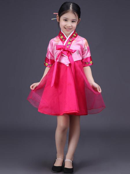 Milanoo Halloween Korean Costume Girls' Satin Bowknot Short Sleeve Color Block Shift Traditional Hanbok Dress Costume