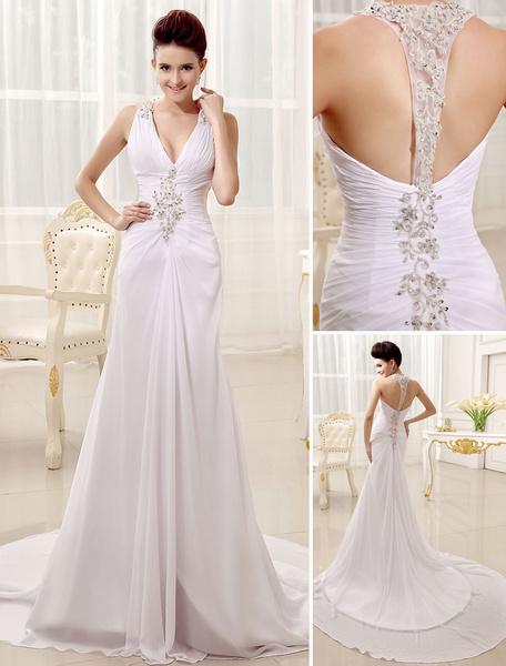 Milanoo Vestido de novia de chifon con cuello en V y pliegues de cola larga