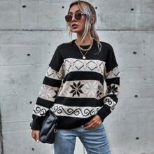 Pullover mit Farbblock, Argyle Muster und sehr tief angesetzter Schulterpartie