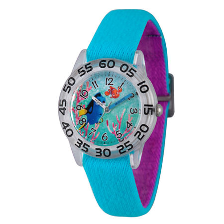 Disney Collection Girls Blue & Silver-Tone Numbered Bezel Finding Dory Watch, One Size , No Color Family