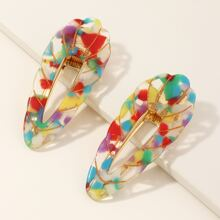 2pcs Colorful Water Drop Shaped Hair Clip