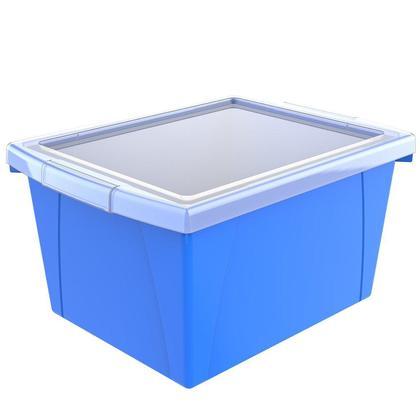 Storex® 4 gallons/15 L, bac de rangement pour salle de classe avec couvercle - Bleu