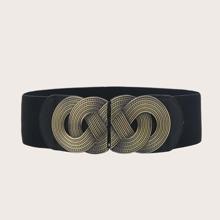 Cinturon ancho con hebilla con textura