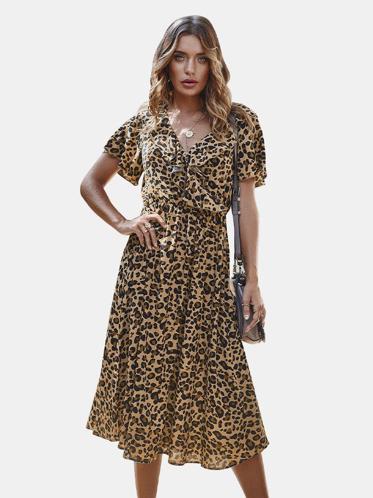 Flounces Leopard Print Short Sleeve Dress For Women