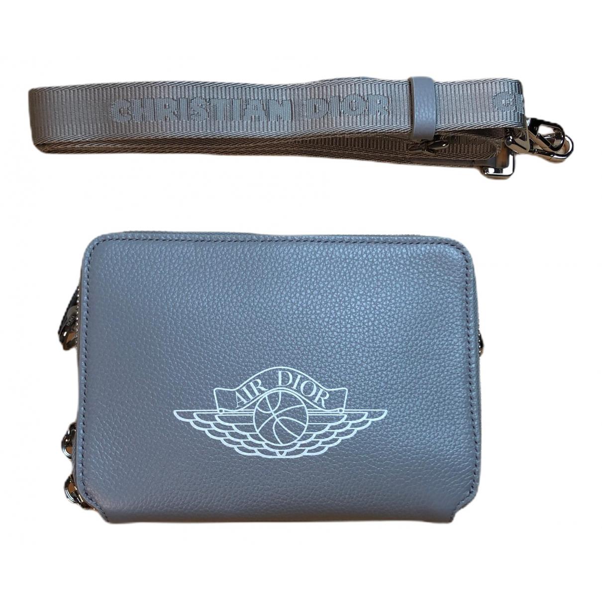Jordan X Dior \N Grey Leather Small bag, wallet & cases for Men \N