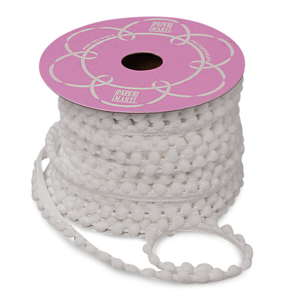 Cotton 9 mm X 15yd White Soft Ball Trim by Ribbons.com