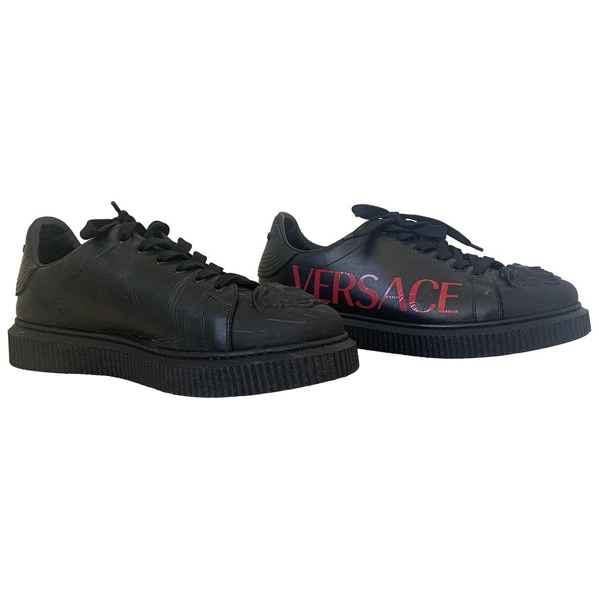 Versace - Baskets   pour homme en cuir - noir