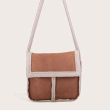 Faux Shearling Panel Flap Crossbody Bag
