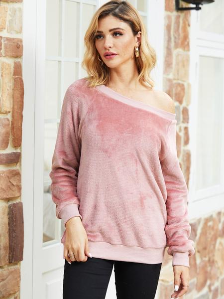 YOINS Pink One Shoulder Velvet Sweatshirt