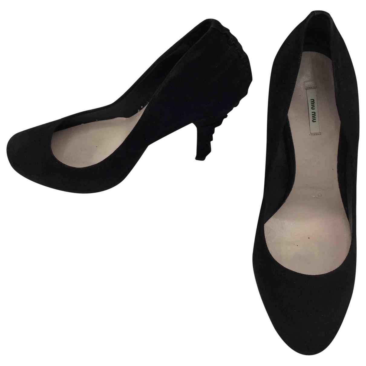 Miu Miu \N Black Suede Heels for Women 37.5 EU